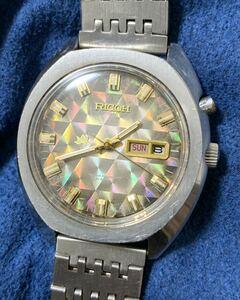 稼働品 希少 アンティーク リコー ホログラム 文字盤 自動巻き メンズ 腕時計 純正 リューズ ブレス RICHO men's antique automatic watch