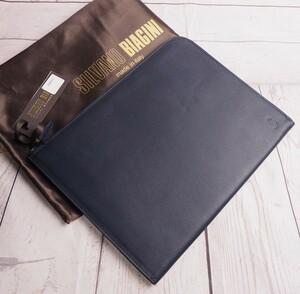 新品定価3.5万円 Silvano Biagini シルヴァーノビアジーニ イタリア製 サフィアーノ・レザー A4サイズ クラッチバッグ ネイビー 7848055