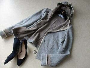 MARLENE DAM マーレンダム ◆ウールカシミア フーデットコート ショート サイズ40 定価8万