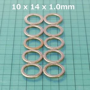 copper washer 10 pieces set M10 (10 x 14 x 1.0mm crush washer )