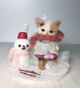 みみこ☆三毛猫☆雪あそび☆羊毛フェルト☆ミニチュア☆インテリア☆ドールハウス