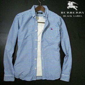 最終モデル▼ バーバリーブラックレーベル ネルシャツ ワンポイント刺繍 長袖シャツ ギンガムチェック 2 Mサイズ BURBERRY BLACK LABEL