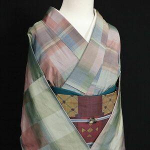 10221【秀品】手織り 紬地 変わり格子 袷 正絹 くすみカラー
