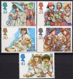 ★1994年 イギリス - 「クリスマス」5種完 未使用(MNH)(SC#1581-1585)★YB-242