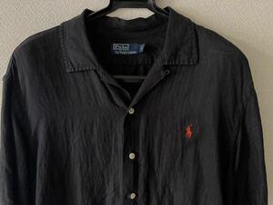 ラス1 超希少 ラルフローレン 開襟 シャツ黒 ブラック シルク リネン L オープンカラー 半袖 90s ポロ ポニー POLO RALPH LAUREN 中古美品