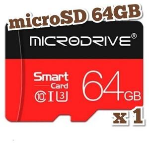 マイクロSDカード 64GB 1枚 class10 UHS-I対応 microSD MICRODRIVE BLACK-RED