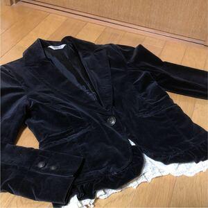 美品 レディース ジャケット テーラードジャケット ベロア レース ブラック