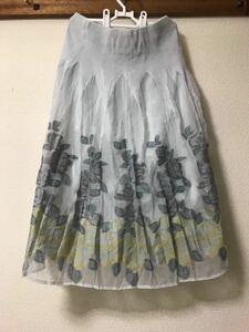 シフォン フレア 花柄 ミモレ丈スカート