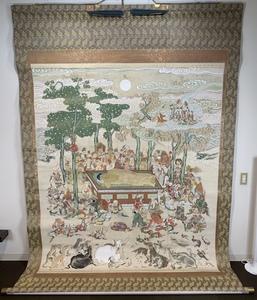 超大幅 仏画 涅槃図 中国画 絹本肉筆 羅漢 阿弥陀仏 仏教美術 中国