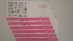 エー・ピーホールディングス(エーピーカンパニー) 塚田農場 株主優待券 6000円分