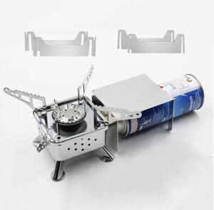 シングルバーナー コンパクトバーナー カセットボンベ 防風板付 火力調節 圧電点火 卓上ガスコンロ アウトドア 折りたたみ式 収納ケース付