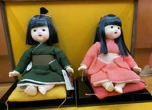 美品★日本人形 京おきな 創作人形 和風 2体セット★ガラスケース付き