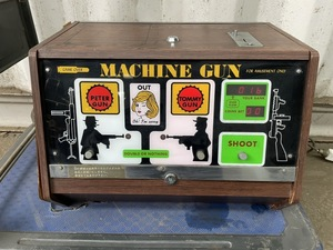 0ji- M technology research place MACHINE GUN medal retro game arcade coin PETER TOMMY DOUBLE OR NOTHING SHOOT [ present condition goods ]