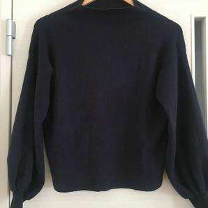 【匿名配送】DouDou 袖がふわっとしたセーター ネイビー