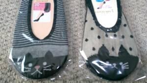 【2足セット】ネコ柄の靴下/レディースソックス/猫/フットカバー