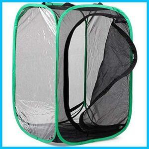 【DHseirenn】昆虫飼育箱 植物ケージ 標本箱 折り畳み虫かご 昆虫ケージ ポップアップハウジング 通気性 ネット 3色 (C 緑辺 ブラック網)