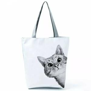 猫トートバッグ エコバッグ 手提げ 通勤 通学 布製 大容量 A4