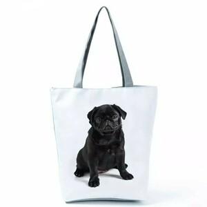 犬トートバッグ エコバッグ 手提げ 通勤 通学 布製 大容量 A4サイズ 黒パグ