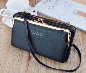 大人気♪新品】お財布 ショルダーバッグ 横型 ポシェット がま口 長財布 大容量