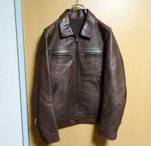 uniform experiment シングルライダースジャケット サイズ1 ブラウン 牛革 日本製 lewis leathers ルイスレザー ドミネーター 藤原ヒロシ