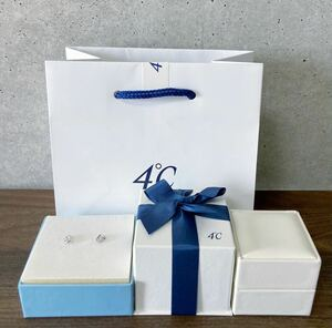 新品 正規品 4℃ ヨンドシー ピアス ダイヤモンド ホワイトトパーズ k10 ホワイトゴールド ケース紙袋リボン 箱 ゴールド ダイヤ