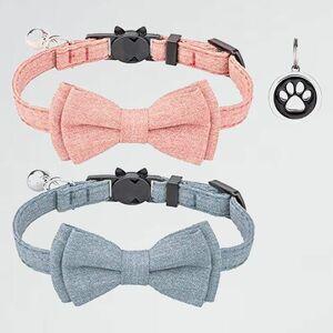 新品 未使用 首輪 猫 K-GD 2個セット (ピンク+ライトブル-) ネコ 猫用 首輪 子犬 迷子札付き リボン付き 鈴付き セ-フティバックル