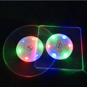 4種類アクリルクリスタル超薄型ledライトコースター キッチン バー カクテルフラッシュベース発光バーマット