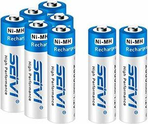 単三電池 8本 SEIVI 単3形 充電池 充電式ニッケル水素電池 8個パック(超大容量2800mAh 約1200回使用可能)