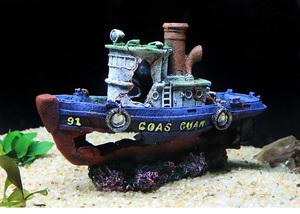 沈没船 アクアリウム用品 水槽用 アクセサリー オーナメント 隠れ家 樹脂 レイアウト用 観賞魚 熱帯魚 爬虫類 両生類 置物