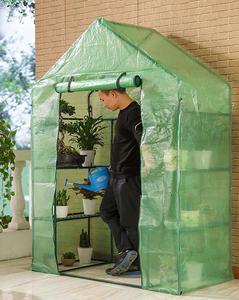 防虫防鳥寒さ対策 PE素材 ビニールハウス 温室 簡易温室ビニール温室 菜園ハウス グリーンハウス スチールパイプ 3段ラック 組立式 家庭用