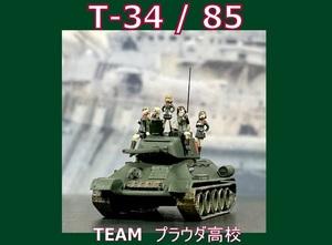 1/144完成品 T34 / 85 プラウダ高校