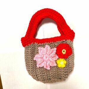 ハンドメイド ミニバッグ 編み物 かぎ針編み bag 小さなバッグ
