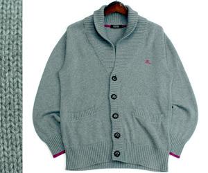 バーバリー ブラックレーベル BURBERRY BLACK LABEL 三陽商会 ショールカラー コットンニットジャケット セーター サイズ2 1020g