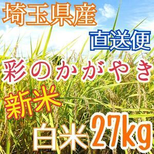 検査1等米 令和3年産 埼玉県産 彩のかがやき 白米 27kg 美味しいお米