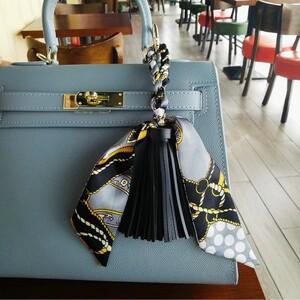 バッグ チャーム タッセル & リボン スカーフ キーリング ブラック フリンジ