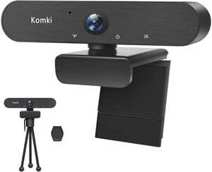 Komki ウェブカメラ 500万画素 webカメラ フルHD2000p USBカメラ マイク内蔵 広視野角 三脚サポート付き
