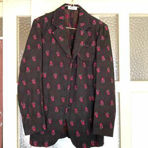 テーラードジャケット レディースジャケット 花柄アウター 黒 ブレザー