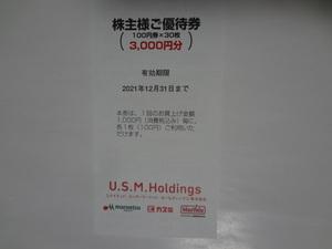 ユナイテッドスーパーマーケット 株主優待券 3000円分(100円券×30枚)♪マルエツ カスミ マックスバリュ関東♪有効期限2021年12月31日まで