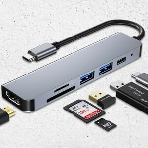 送料無料 USB Type C ハブ 6in1 PD充電(87w) 4K対応 HDMI