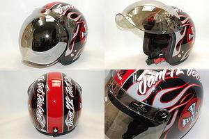 72JAM JJ-06G  ミラーシールド付きROCK&ROLLブラックヘルメット