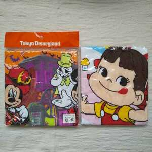 新品 ハンドタオル 2枚セット ディズニー ハロウィン ペコちゃん ミッキー ウォッシュタオル 不二家 ディズニーリゾート