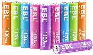 ★2時間セール価格★単4電池1100mAh 10本パック EBL 単4形充電池 カラフル充電式ニッケル水素電池1100mAh 1