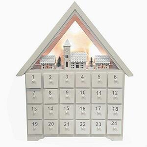 新品 Christmas Advent Calendar クリスマス木製白いアドベントカレンダーハウス24引き出LZRC