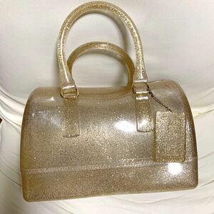 クリアバッグ ゴールド ボストンバッグ ショルダーバッグ 2WAY 南京錠付き レディースバッグ