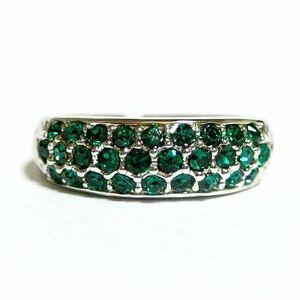 Gorgeous Pave Swarovski Crystal Emerald Silver Ring Ring 21