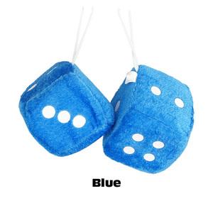 プラッシュ ダイス (ブルー) 2piece Car Plush Dice 車 ファジーダイス サイコロ カーアクセサリー アメ車 吸盤【メール便OK】