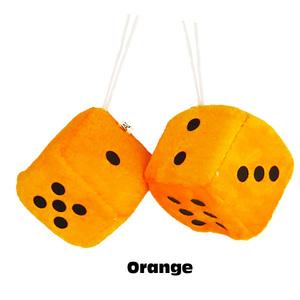 プラッシュ ダイス (オレンジ) 2piece Car Plush Dice 車 ファジーダイス サイコロ カーアクセサリー アメ車 吸盤【メール便OK】