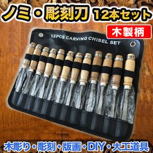 のみ 12 本 セット 木製柄 ハンドツール 彫刻刀 ノミ 大工道具 鑿 木彫 小刀 研磨 木工 DIY 工具 クラフト