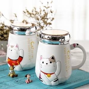 新品 フィス 漫画猫耐熱カップカラ漫画付き蓋カップ 子猫ミルクコーヒーセラミックマグ 子供カップオ ◆◆500ミリリZK37