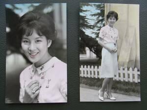 【美品・送料無料】吉永小百合 2枚組 カラー着色版 当時物プロマイド 昭和映画スター